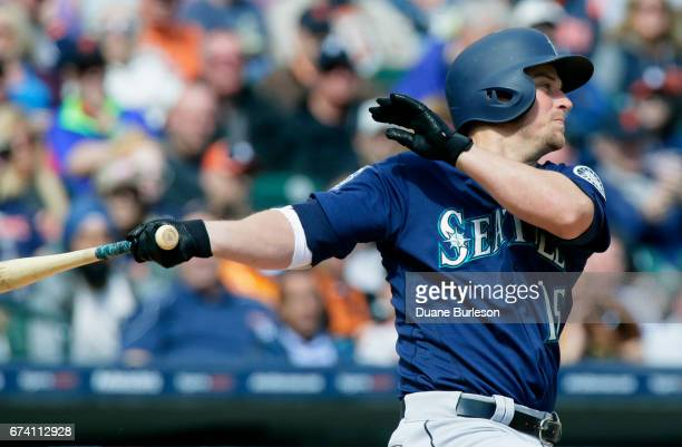 Kyle Seager of the Seattle Mariners singles during the sixth inning to drive in Nelson Cruz of the Seattle Mariners against the Detroit Tigers at...
