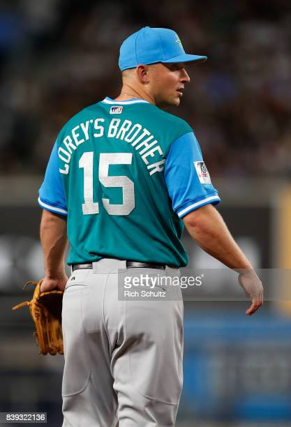 Kyle Seager of the Seattle Mariners wears the name of his brother Corey on the back of his jersey during a game against the New York Yankees at...