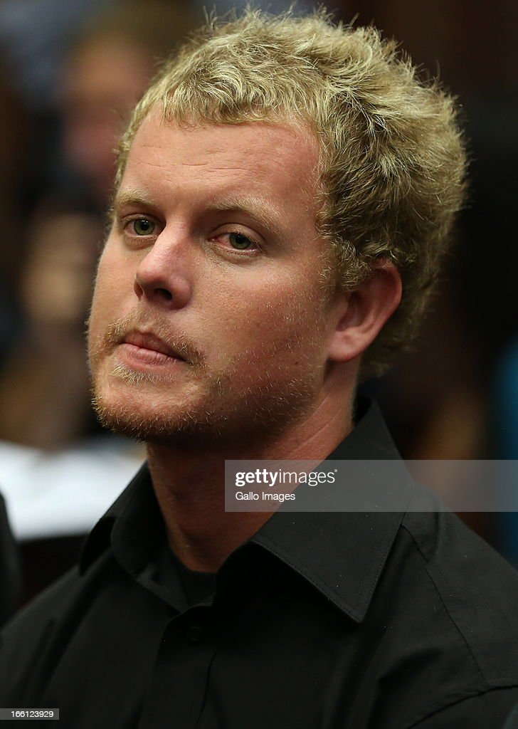 Kyle Shepard appears in the Durban Magistrate court for his bail application on April 8, 2013 in Durban, South Africa. Shepard is one of the accused charged with the murder of a British Royal Marine, Brett Williams. Williams was beaten to death at a Super XV Match at Durban Stadium.