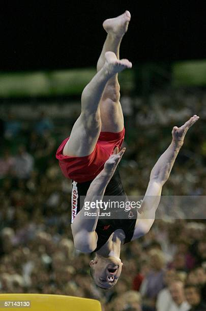 Kyle Shewfelt of Canada competes in the Men's Vault Final in the artistic gymnastics at the Rod Laver Arena during day six of the Melbourne 2006...
