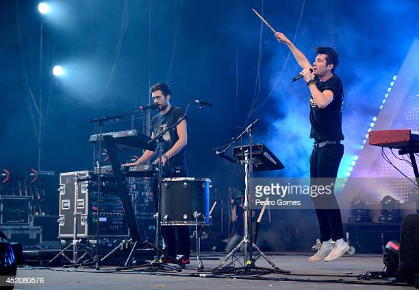 Kyle Simmons and Dan Smith of Bastille perform on stage at Optimus Alive music festival on July 12 2014 in Lisbon Portugal