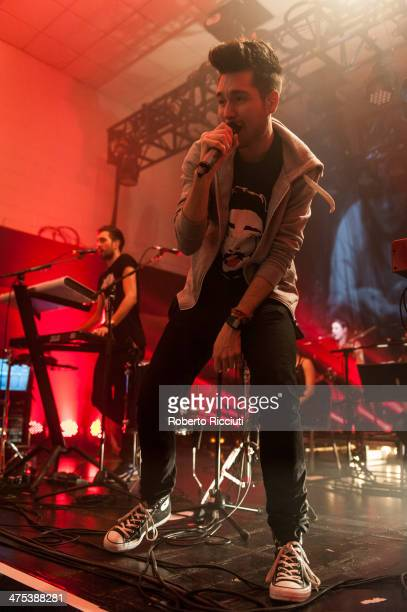 Kyle Simmons and Dan Smith of Bastille perform on stage at The Corn Exchange on February 27, 2014 in Edinburgh, United Kingdom.