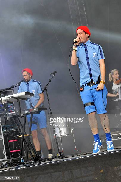 Kyle Simmons and Dan Smith of Bastille perform on stage during Day 3 of Bestival 2013 at Robin Hill Country Park on September 7 2013 in Newport Isle...