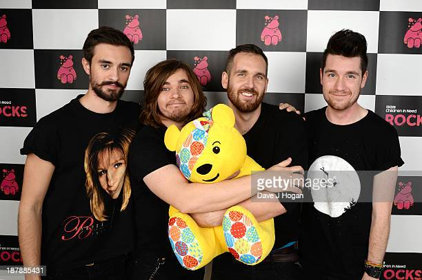 Kyle Simmons Chris Wood Will Farquarson and Dan Smith of Bastille pose backstage during the 'BBC Children In Need Rocks' at Hammersmith Eventim on...