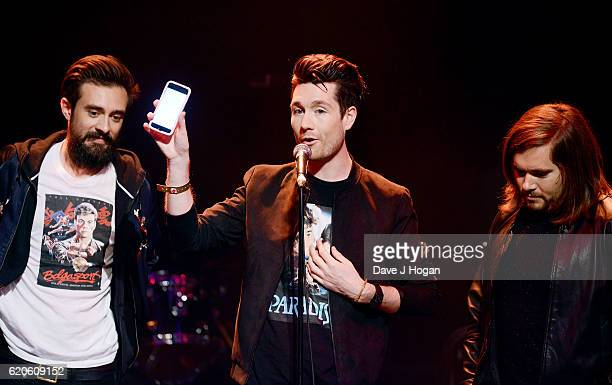 Kyle Simmons Dan Smith and Chris Wood of Bastille accept the Best Track Award during The Stubhub Q Awards 2016 at The Roundhouse on November 2 2016...