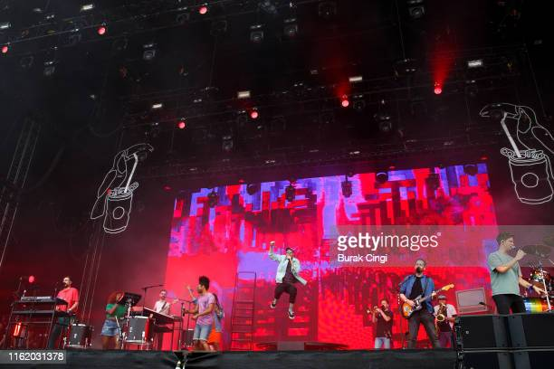 Kyle Simmons Dan Smith and Will Farquarson of Bastille perform at Citadel Festival at Gunnersbury Park on July 14 2019 in London England