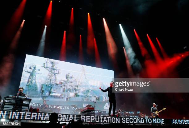 Kyle Simmons Dan Smith and Will Farquarson of Bastille perform at Reading Festival at Richfield Avenue on August 25 2017 in Reading England