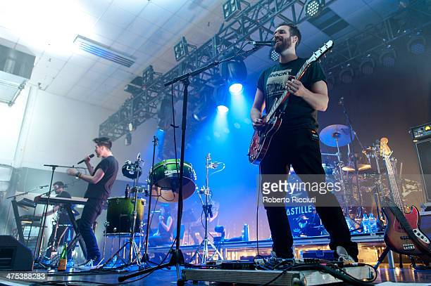 Kyle Simmons, Dan Smith and Will Farquason of Bastille perform on stage at The Corn Exchange on February 27, 2014 in Edinburgh, United Kingdom.