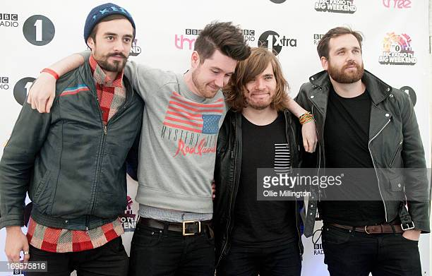 Kyle Simmons Dan Smith Chris 'Woody' Wood and Will Farquarson of Bastille pose backstage on Day 3 of Radio 1's Big Weekend Festival on May 26 2013 in...