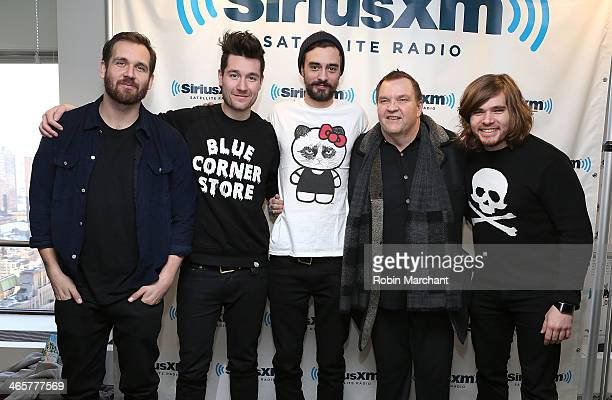 Kyle Simmons Dan Smith Will Farquarson and Chris Wood of the band Bastille and Michael Lee 'Meat Loaf' Aday visit at SiriusXM Studios on January 29...