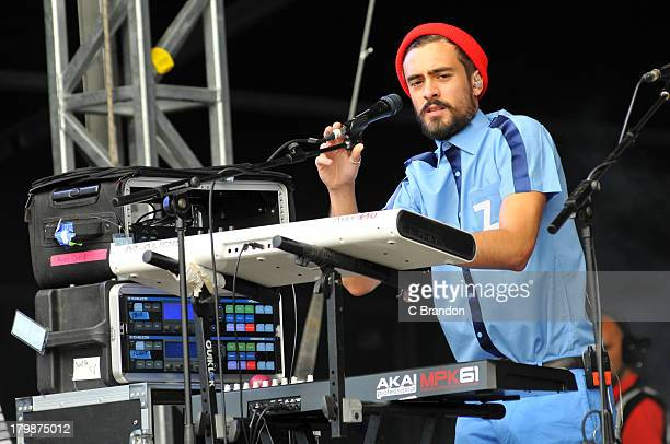 Kyle Simmons of Bastille performs on stage during Day 3 of Bestival 2013 at Robin Hill Country Park on September 7 2013 in Newport Isle of Wight