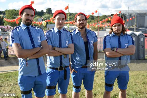 Kyle Simmons Will Farquarson Dan Smith and Chris Wood of Bastille pose for a photo backstage on Day 3 of Bestival at Robin Hill Country Park on...