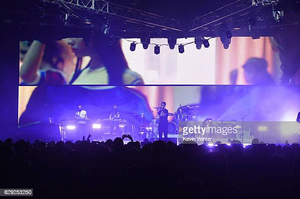 Kyle Simmons Will Farquarson Dan Smith and drummer Chris Wood of the band Bastille perform onstage at 1067 KROQ Almost Acoustic Christmas 2016 Night...