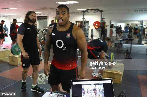 Kyle Sinckler jokes during the England gym session held at Kings Park Stadium on June 12 2018 in Durban South Africa