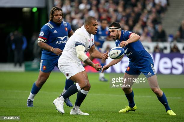 Kyle Sinckler of England between Maxime Machenaud and Geoffrey Doumayrou of France during the NatWest 6 Nations Crunch match between France and...
