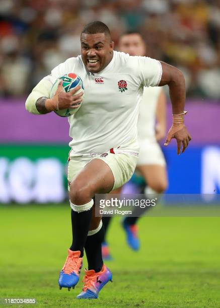 Kyle Sinckler of England breaks clear to score their third try during the Rugby World Cup 2019 Quarter Final match between England and Australia at...