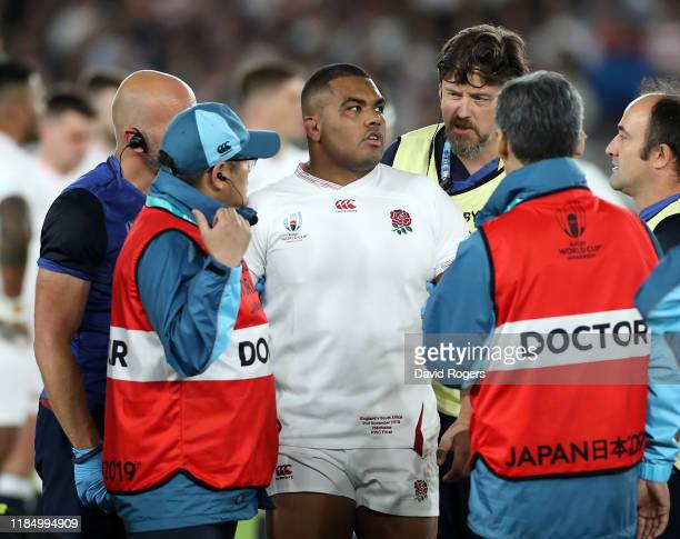 Kyle Sinckler of England is helped off the pitch after receiving treatment during the Rugby World Cup 2019 Final between England and South Africa at...
