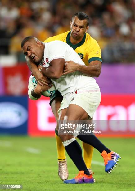 Kyle Sinckler of England is tackled by Kurtley Beale of Australia during the Rugby World Cup 2019 Quarter Final match between England and Australia...