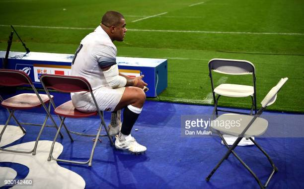 Kyle Sinckler of England looks dejected after the NatWest Six Nations match between France and England at Stade de France on March 10 2018 in Paris...