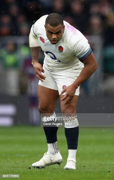 Kyle Sinckler of England looks on during the NatWest Six Nations match between England and Ireland at Twickenham Stadium on March 17 2018 in London...