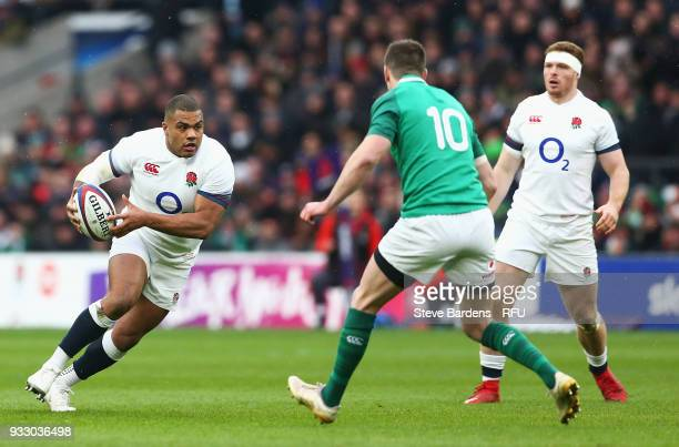 Kyle Sinckler of England on the charge during the NatWest Six Nations match between England and Ireland at Twickenham Stadium on March 17 2018 in...