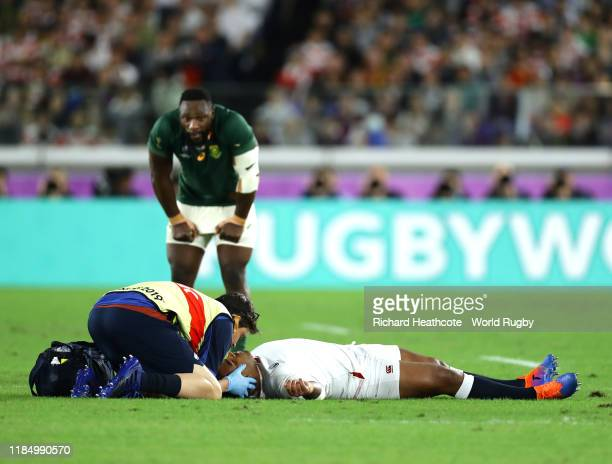 Kyle Sinckler of England receives treatment during the Rugby World Cup 2019 Final between England and South Africa at International Stadium Yokohama...