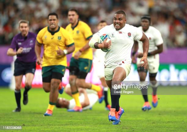 Kyle Sinckler of England runs clear to score his team's third try during the Rugby World Cup 2019 Quarter Final match between England and Australia...