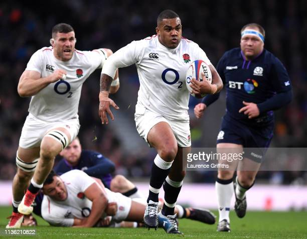Kyle Sinckler of England runs with the ball during the Guinness Six Nations match between England and Scotland at Twickenham Stadium on March 16,...