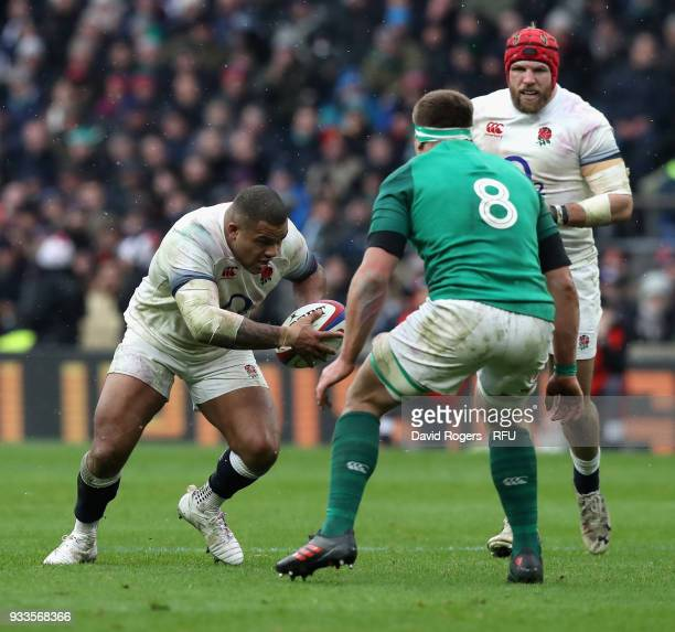 Kyle Sinckler of England runs with the ball during the NatWest Six Nations match between England and Ireland at Twickenham Stadium on March 17 2018...