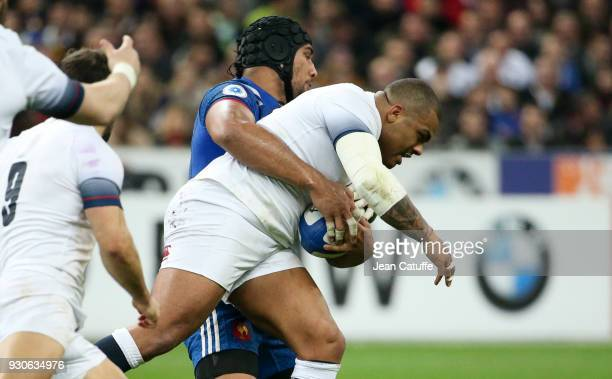 Kyle Sinckler of England Sebastien Vahaamahina of France during the NatWest 6 Nations Crunch match between France and England at Stade de France on...