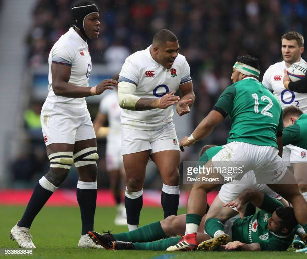 Kyle Sinckler of England shouts during the NatWest Six Nations match between England and Ireland at Twickenham Stadium on March 17 2018 in London...