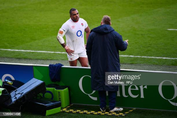 Kyle Sinckler of England talks to Joe Marler of England during the Autumn Nations Cup Final & Quilter International between England and France at...