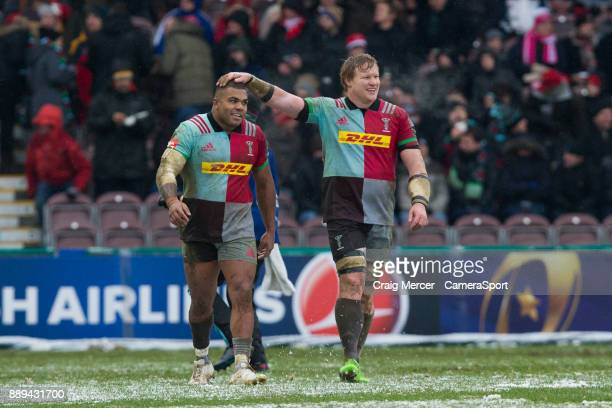 Kyle Sinckler of Harlequins celebrates scoring his sides first try with team mate Renaldo Bothma during the European Rugby Champions Cup match...