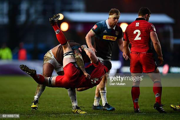 Kyle Sinckler of Harlequins dump tackles Magnus Bradbury of Edinburgh off the ball resulting in a yellow card during the European Rugby Challenge Cup...