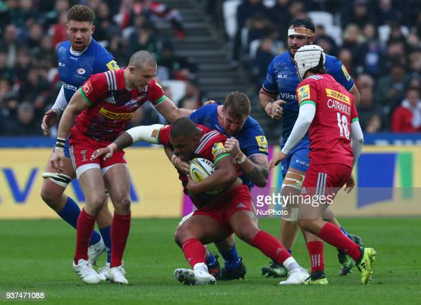 Kyle Sinckler of Harlequins during Aviva Premiership match between Saracens against Harlequins at London stadium London England on 24 March 2018