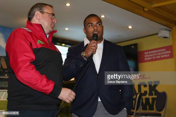 Kyle Sinckler of Harlequins is interviewed at the DHL Back Row during the Aviva Premiership match between Harlequins and Sale Sharks at Twickenham...