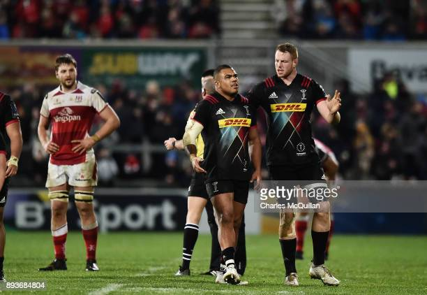 Kyle Sinckler of Harlequins is sin binned during the European Rugby Champions Cup match between Ulster Rugby and Harlequins at Kingspan Stadium on...