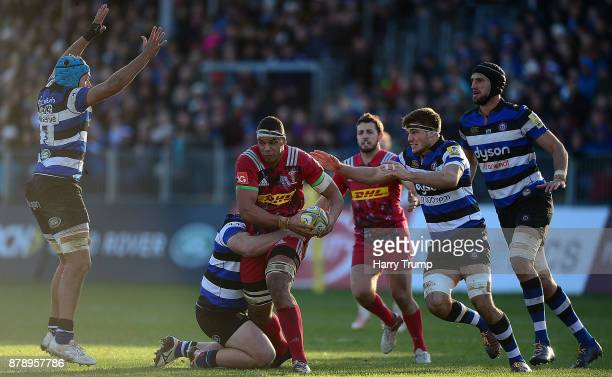 Kyle Sinckler of Harlequins looks to break through the Bath Defence during the Aviva Premiership match between Bath Rugby and Harlequins at the...