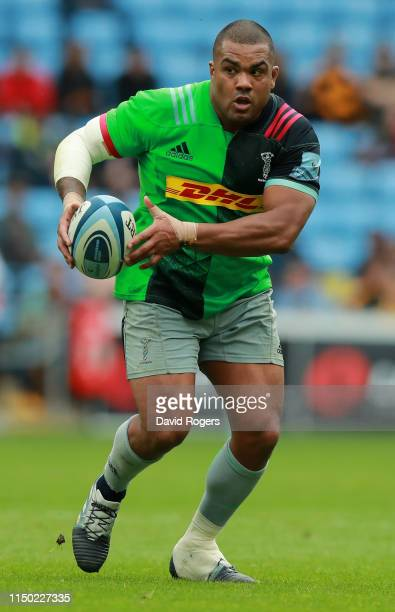 Kyle Sinckler of Harlequins runs with the ball during the Gallagher Premiership Rugby match between Wasps and Harlequins at the Ricoh Arena on May...