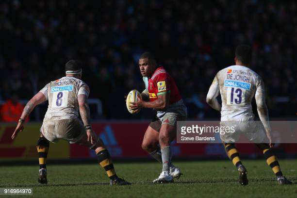 Kyle Sinckler of Harlequins takes on Guy Thompson of Wasps during the Aviva Premiership match between Harlequins and Wasps at Twickenham Stoop on...