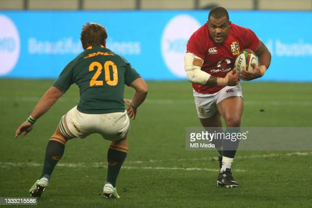 Kyle Sinckler of the British & Irish Lions on the attack during the 3rd Test between South Africa and the British & Irish Lions at FNB Stadium on...