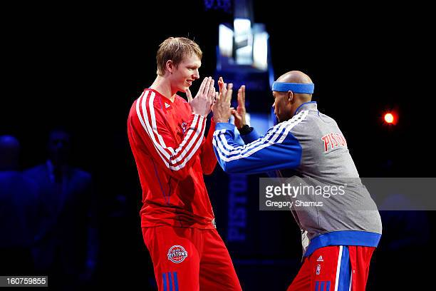 Kyle Singler and Corey Maggette of the Detroit Pistons before the game against the Los Angeles Lakers on February 3 2013 at The Palace of Auburn...