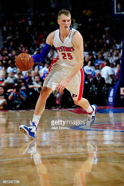 Kyle Singler of the Detroit Pistons drives against the Atlanta Hawks on January 9 2015 at The Palace of Auburn Hills in Auburn Hills Michigan NOTE TO...