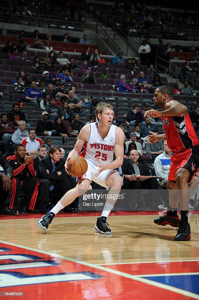 Kyle Singler #25 of the Detroit Pistons drives during the game between the Detroit Pistons and the Toronto Raptors on March 29, 2013 at The Palace of Auburn Hills in Auburn Hills, Michigan.