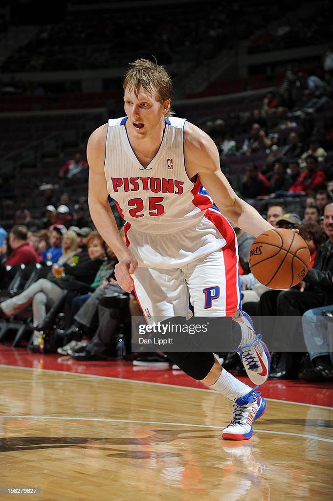 Kyle Singler #25 of the Detroit Pistons drives to the basket against the Denver Nuggets on December 11, 2012 at The Palace of Auburn Hills in Auburn Hills, Michigan.
