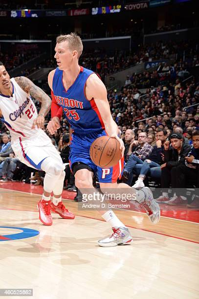 Kyle Singler of the Detroit Pistons handles the ball against the Los Angeles Clippers during the game on December 15 2014 at STAPLES Center in Los...