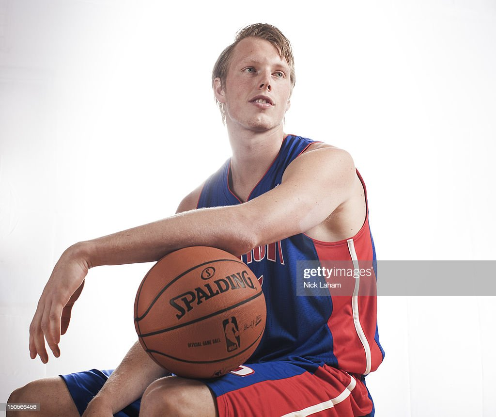 Kyle Singler #25 of the Detroit Pistons poses for a portrait during the 2012 NBA Rookie Photo Shoot at the MSG Training Center on August 21, 2012 in Tarrytown, New York.