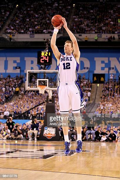 Kyle Singler of the Duke Blue Devils attempts a shot against the Butler Bulldogs during the 2010 NCAA Division I Men's Basketball National...