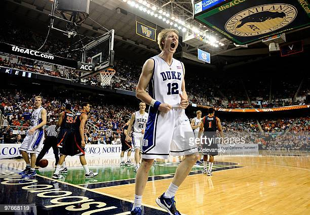Kyle Singler of the Duke Blue Devils celebrates during win over the University of Virginia Cavaliers in their quarterfinal game in the 2010 ACC Men's...
