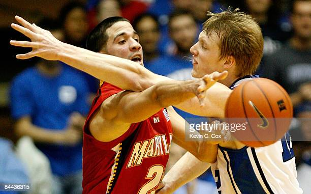 Kyle Singler of the Duke Blue Devils defends against Greivis Vasquez of the Maryland Terrapins on January 24 2009 at Cameron Indoor Stadium in Durham...